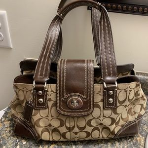 Coach Signature Medium Satchel - Brown/Khaki